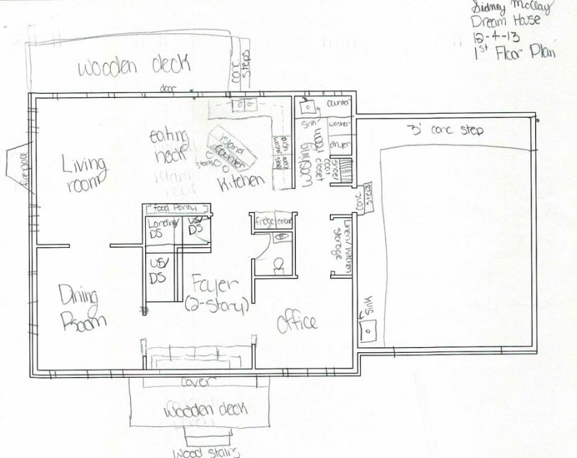 Schematic Rough Floor Plan W Sketched Details Sidney Mcclay